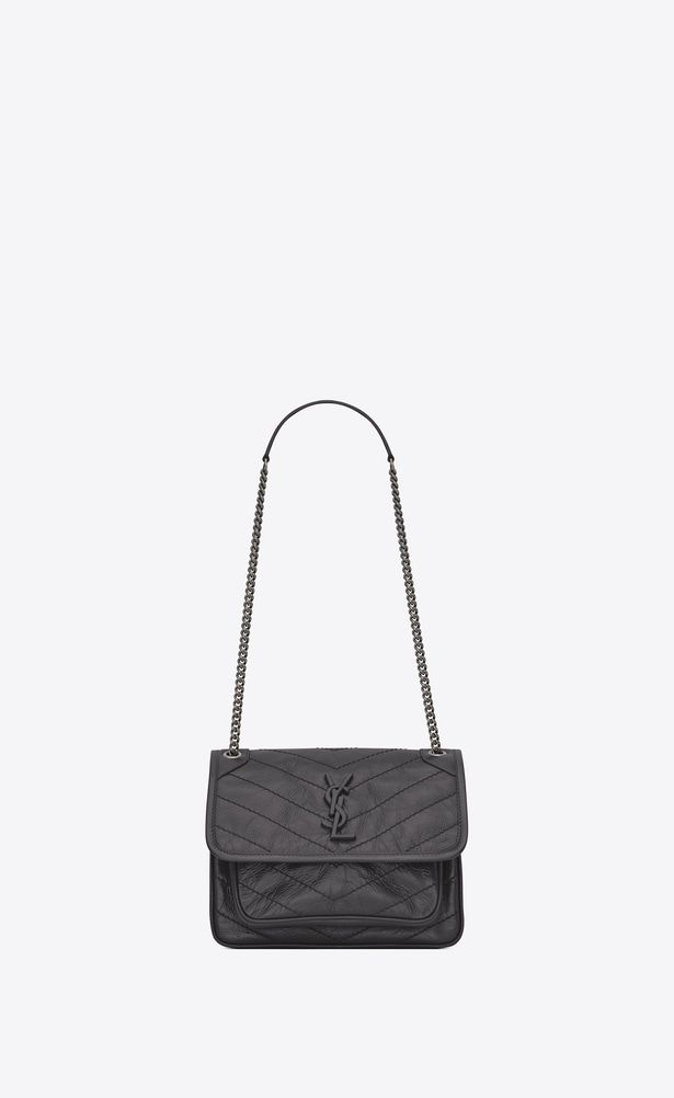 edb8ad768a1 SAINT LAURENT Niki bags Woman Baby Niki chain bag in crinkled and quilted  storm gray leather a_V4