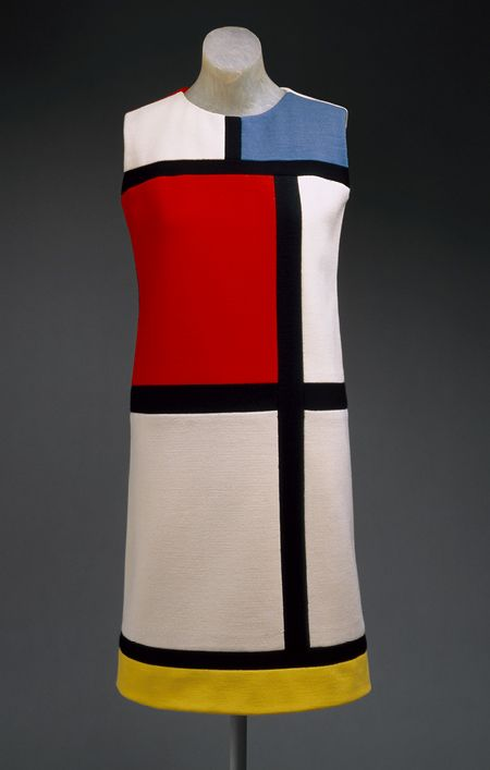 """Mondrian"" day dress, autumn 1965  Yves Saint Laurent (French, born Algeria, 1936)  Wool jersey in color blocks of white, red, blue, black, and yellow"