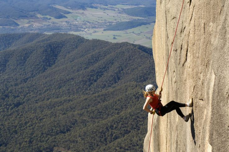 Abseiling at Mount Buffalo, approx 1723 metres high (5652ft). Mount Buffalo is consider one of the most stunning National Parks in Australia. Mount Buffalo - Victoria.