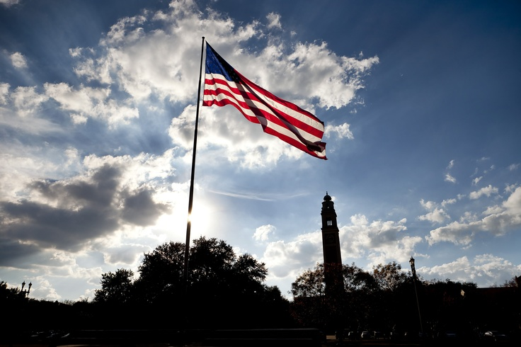 The American Flag flying over the LSU Parade Ground