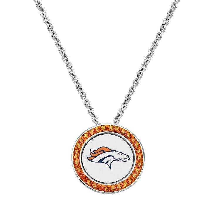 "Denver Broncos Team Logo Crystal Pendant Necklace - Made with Swarovski Crystals, Women's, Size: 18"", Orange"