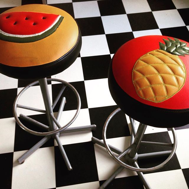 Tropical barstools #melon #pineapple #kitchen #handmade #embroidery #lolarosestitchshop #etsy #diy #amsterdam #art #fruit #seat #interior #interiordesign #vintage #furniture #surf #hawai #healthyfood