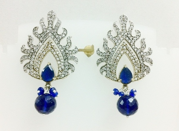 SIZZLING HOT EARRING PAIR WITH BLUE SAPPHIRE DROPS & AMERICAN DIAMOND SIMULATED