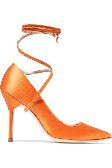 ONLINE EXCLUSIVE AT NET-A-PORTER.COM. Part of the need-to-know collaboration for Spring '17, Vetements and Manolo Blahnik's bright-orange pumps have been handmade in Italy with a signature pointed toe.