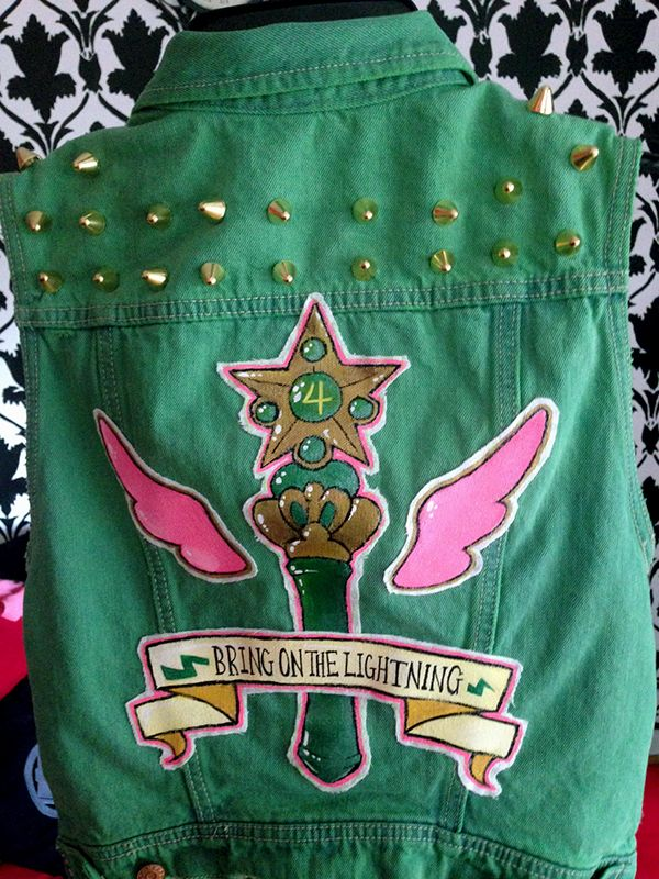 Sailor Jupiter custom denim vest — via dilfosaur.tumblr.com