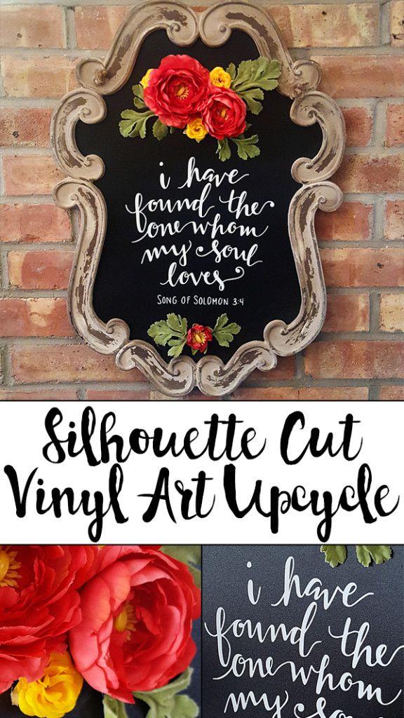Silhouette Cut Vinyl Art Chalkboard Upcycle | Hobnail House