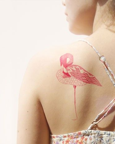 Flamingo tatoeage, plakplaatje vd krantenkapper