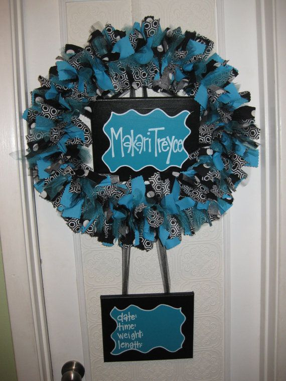 Custom Boutique Baby Wreaths Birth Announcements And Hospital Door