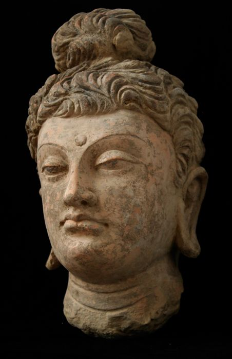 A beautiful large terracotta head of Buddha modeled in the classical Hellenistic style. Gandhara, Pakistan 3rd - 4th c. Kushan Period Gandhara Region terracotta