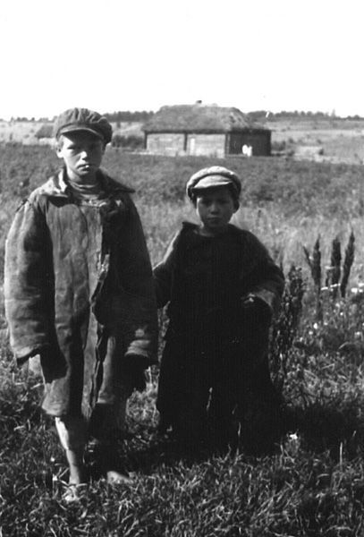 Peasant children. Ethnically Russian people. old photo