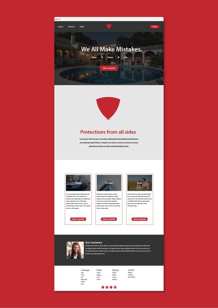Red shield website mockup design. #website #webdesign