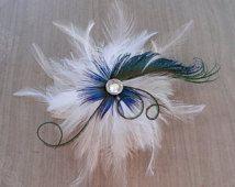 SOPHIE White and Natural Peacock Feather Hair Clip, Feather Fascinator