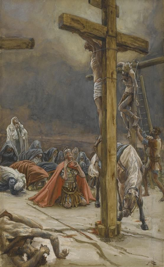 The Confession of Saint Longinus by James Tissot {c.1886-94} ~ Jesus