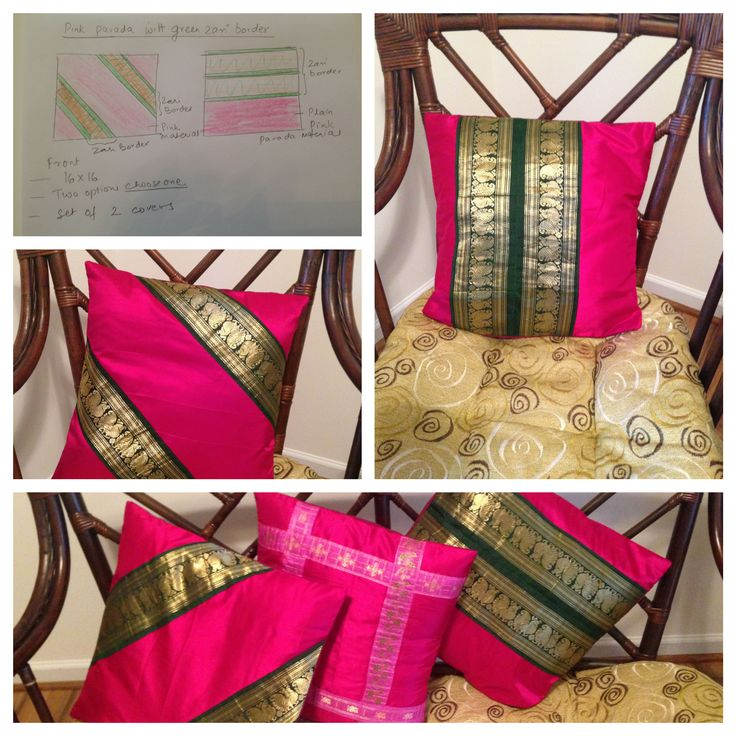 Cushion Covers From design on paper to the end result. Made these with Indian Silk Skirt.