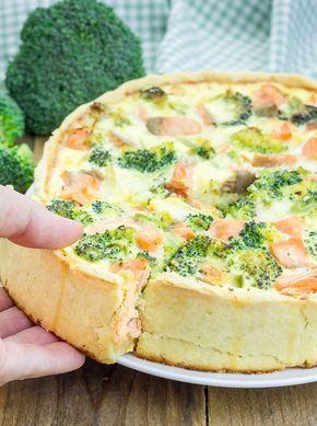 pyszna tarta z łososiem i brokułami...wytrawna tarta z łososiem polana masą jajeczną...smaczna tarta z łososiem na obiad lub kolację...tarty wytrawne