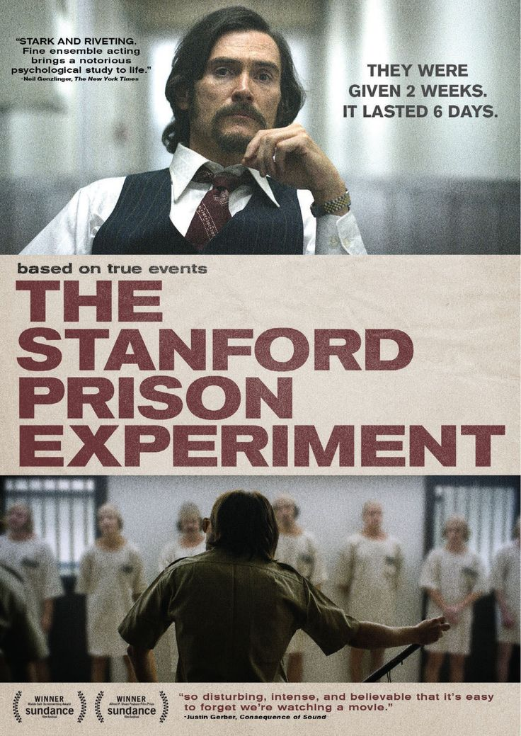 The Stanford Prison Experiment (2015) ... Twenty-four male students out of seventy-five were selected to take on randomly assigned roles of prisoners and guards in a mock prison situated in the basement of the Stanford psychology building. (25-Dec-2015)