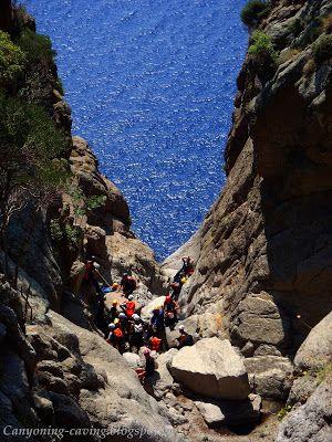 Starting canyoning at Kremastos waterfall, Samothrace island