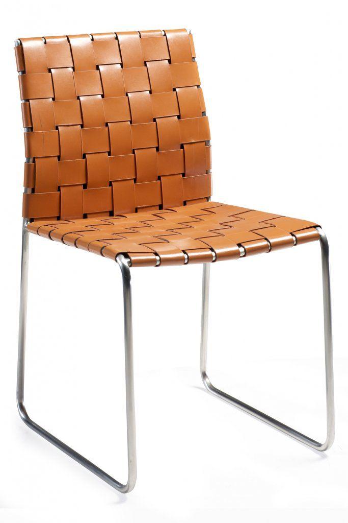 Bond stol Orange reg. Läder, kromade ben