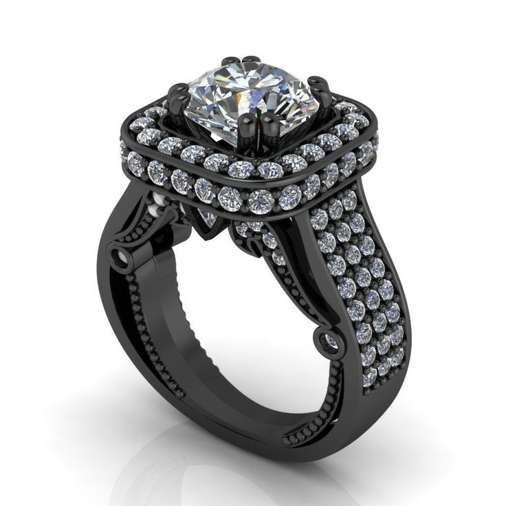 Black Gold Engagement Ring Pink or White Sapphire