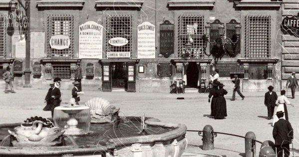Piazza Colonna (1890 ca) Quando a @Palazzo_Chigi c'era un bar. ;)