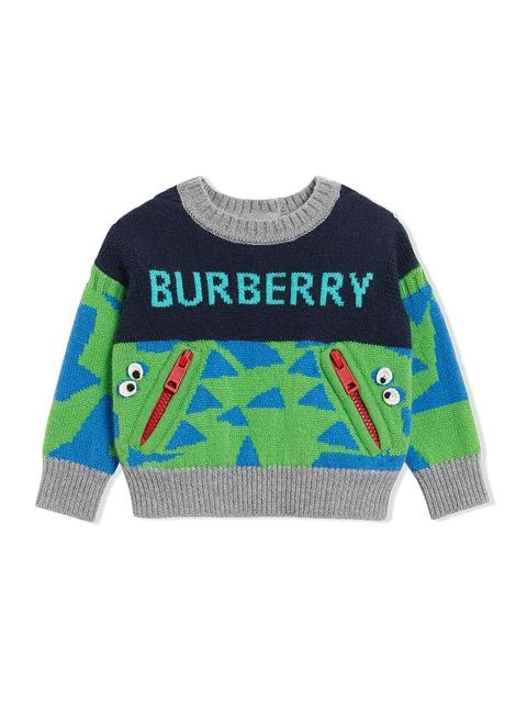 e8dd35d7fae8 Shop Burberry Kids Monster Detail Intarsia Cashmere Sweater