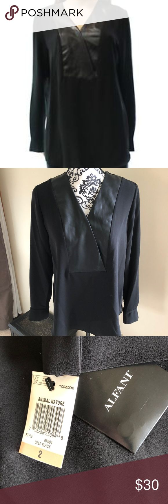 """NWT Alfani Black Blouse Faux Leather Size 2 085 Alfani Women's Black Blouse with Faux Leather Neckline Perfect for the workplace paired with a pencil skirt or worn casually as a tunic with skinny jeans. Size 2 Pit to Pit: 20"""" Wide Length: 27"""" Long Excellent condition, new with tags! Alfani Tops Blouses"""
