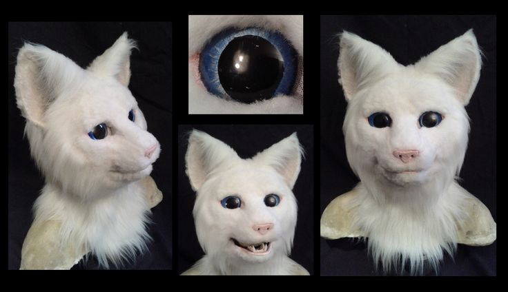 Realistic white cat fursuit costume head. Built on a resin base with a moving jaw. Currently for sale, $700