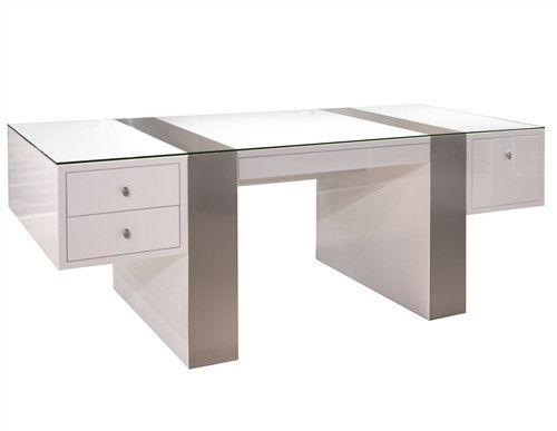 Cool and refreshing to look at, this white lacquer desk is paired with brushed aluminum wraps and features three utility drawers and a file drawer. Its optional credenza, which is also stunning, provi