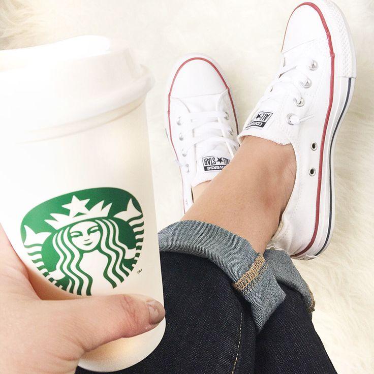 White Converse Slip Ons
