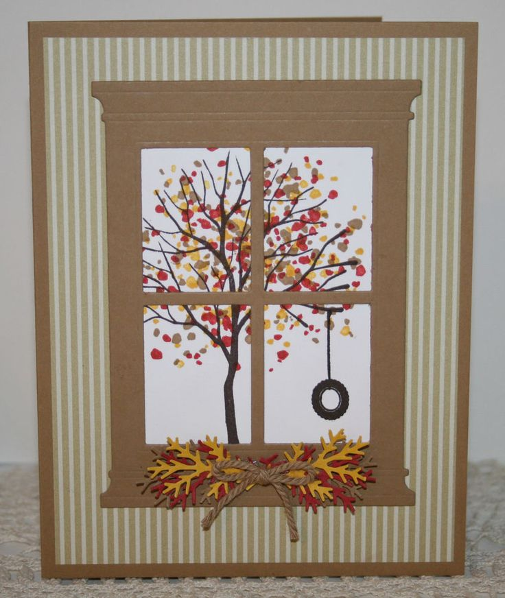 handmade card ... Autumn dressed Sheltering Tree through a die cut window ... great card!