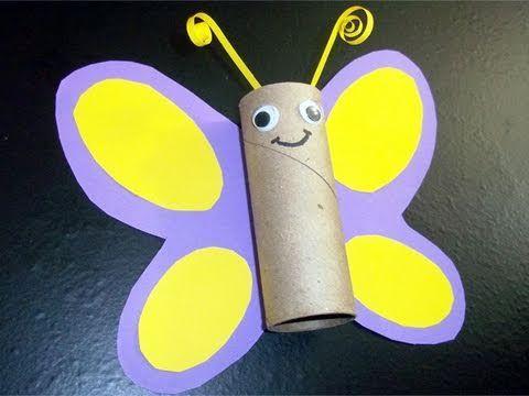 Manualidades de reciclaje: mariposa con tubo de papel de cocina - YouTube