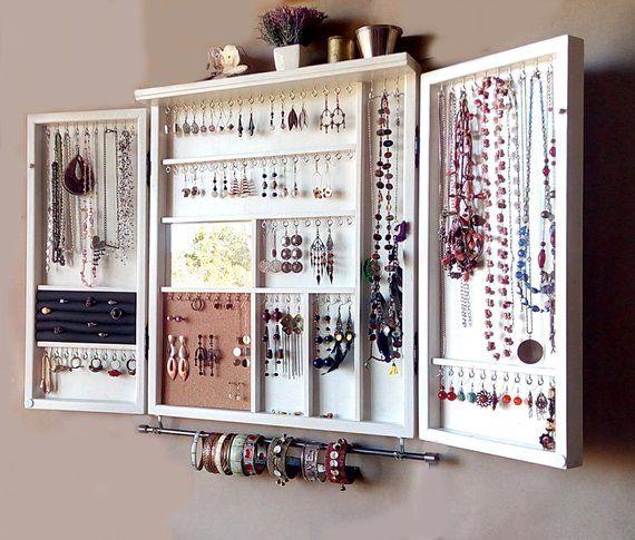 Jewelry Cabinet Large Earrings Case Jewelry Storage Wall Mounted