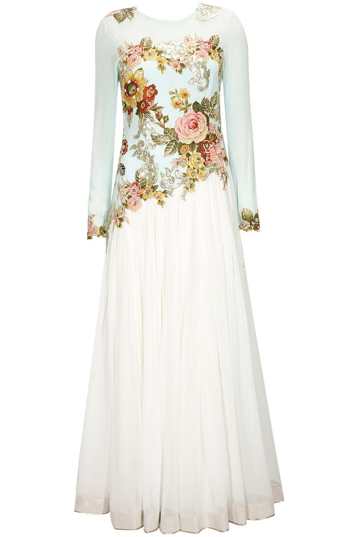 Aqua and white floral applique work anarkali set available only at Pernia's Pop-Up Shop.