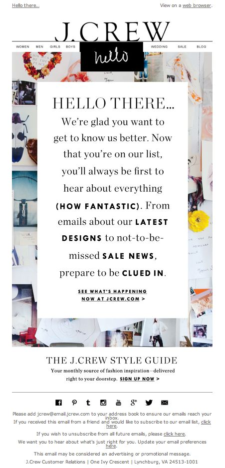"""J. Crew welcome email - email design 2013 (#1) - Nov. 5, 2013 - """"Hello there…"""""""