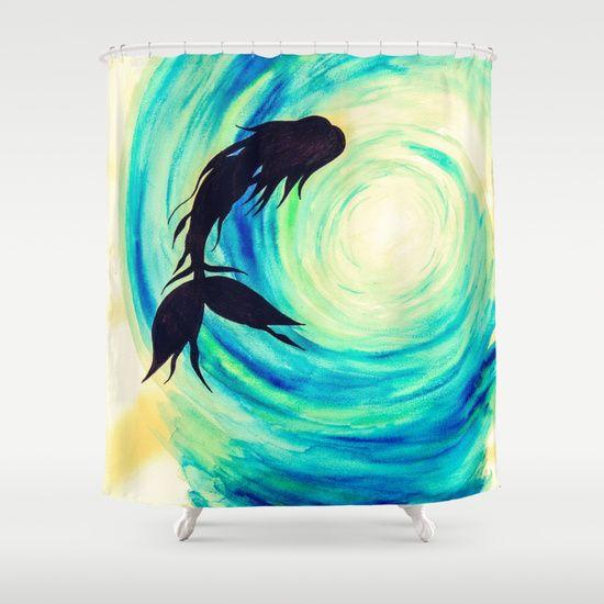 catching sun mermaid shower curtain home decor