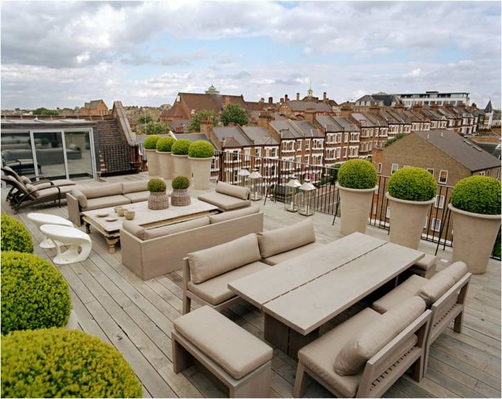 Roof Terrace at Kelly Hoppen's loft in a converted 19th Century School in London