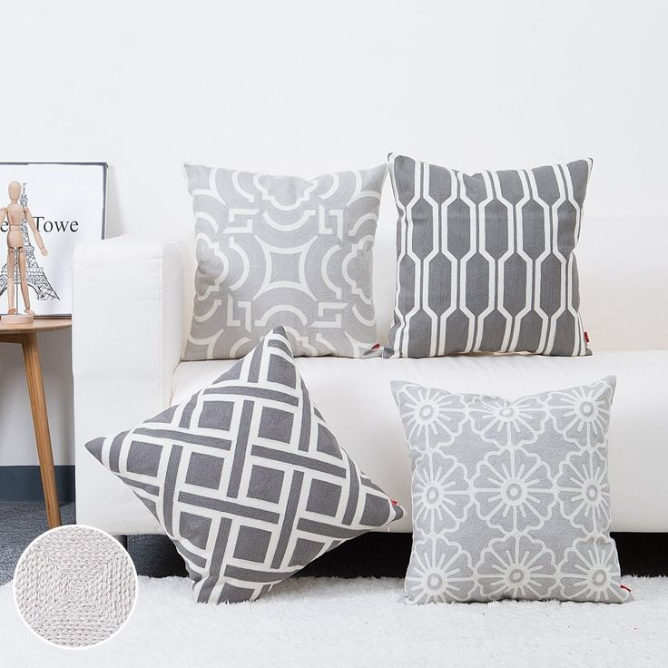 Sofa Throw Pillow Case Embroidery Grey Cushion Cover for Bed,Chair,Sofa Set of 4