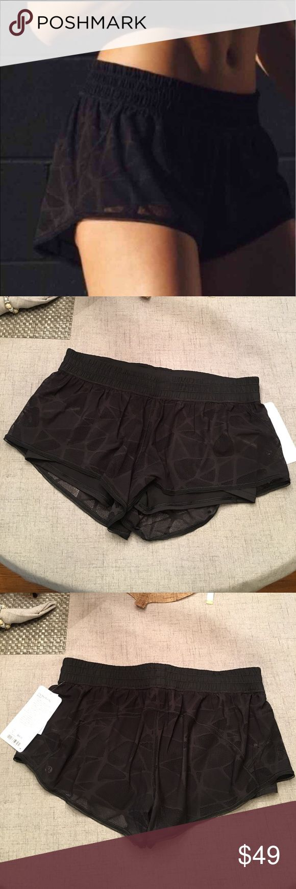 Lululemon Shorts City Sky Run New with tags. Size 12. Black shorts with lace overlay. Very cute on :)   Happy to bundle :)  Lots of Victoria Secret, Pink, Nike, Under Armour, Lululemon, Patagonia, Miss Me, and other Buckle items to list. Follow me to check out the great deals. lululemon athletica Shorts