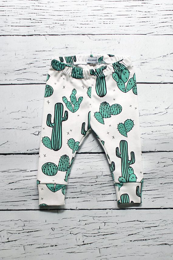 organic baby leggings, baby leggings, baby pants, organic baby clothes, cactus baby, baby girl, baby boy, gender neutral, binky monster