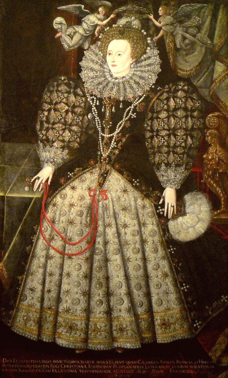 Queen Elizabeth I. Os têxteis desenvolvem-se e tornam-se comuns os brocados. os tecidos no geral são mais brilhantes e com cores saturadas. As mangas tornam-se volumosas, arredondadas e por vezes,amovíveis (podiam ser retiradas ou substituídas),geralmente com renda nos punhos. É visivel neste retrato da época o corpete em forma de V que teve especial importância no tempo isabelino.