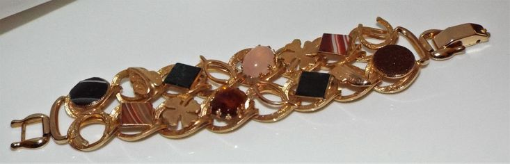 Vintage Big Good luck symbol BRACELET glass stone faux agate faux goldstone WIDE #Unbranded #Statement