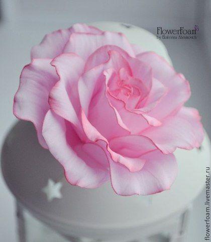 Цветы из фоамирана. Роза в нежно-розовых оттенках - бледно-розовый,нежно-розовый