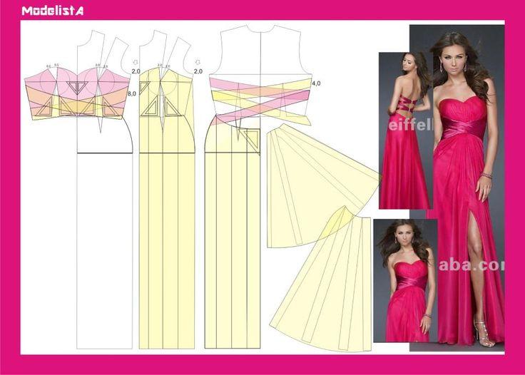 Modelagem vestido longo fenda