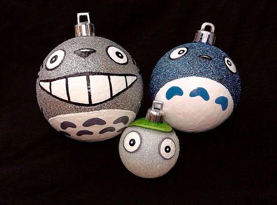 Totoro Spirit Ornament Set - My Neighbor Totoro Inspired Miyazaki Studio Ghibli Anime Shatterproof Hand-Painted Christmas Ornaments!