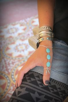 Gorgeous silver chain and Turquoise Thumb finger slave bracelet Adjustable Hand piece Native style piece Silver Feather Bohemian Festival