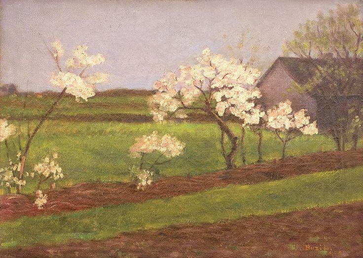 Laszlo Buzi, Primăvară - ulei pe pânză, 42.00 × 58.00 cm, semnat dreapta jos, cu ocru, Buzi L.
