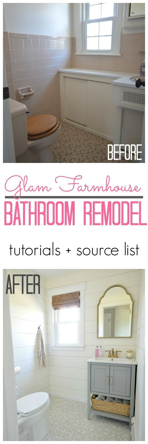 Glam Farmhouse Bathroom Reveal. A 1960s pink powder room is transformed with cement tile and shiplap walls. Full tutorials and before and after pictures.