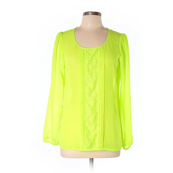 GB Long Sleeve Blouse ($19) ❤ liked on Polyvore featuring tops, blouses, light green, yellow blouse, yellow long sleeve top, long sleeve tops, long sleeve blouse and yellow top