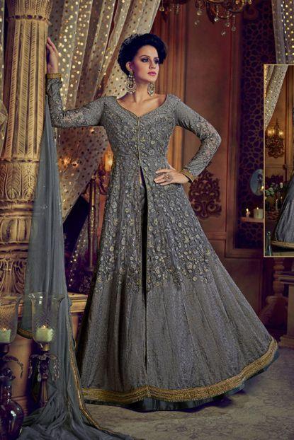c3ee0b59ee5 Grey Net Designer Embroidered Bridal Wear Indo Western Suit With Net Duptta  Website   https