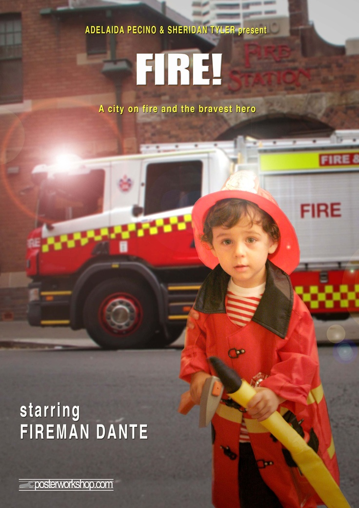 FIREMAN (Station) KIDS MOVIE POSTER GIFTS  From $45.00  Hurry!  There's a fire emergency!  Only the bravest, strongest fire fighters can save the day!  Star in this Fireman Movie Poster and become your town hero.  Photo Tip: This poster works best if you wear your best Fireman gear.